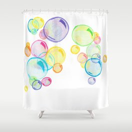 Rainbow Pastel Bubbles Floating Shower Curtain