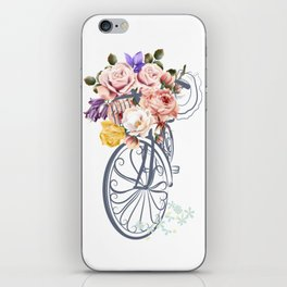 Cute design with bicycle and basket full of rose flowers iPhone Skin
