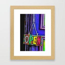 Psychedelic Open Sign Framed Art Print