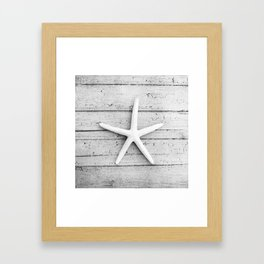 Black and White Starfish Beach Photography, Grey Star Fish Coastal, Gray Seashore Shore Seaside Framed Art Print