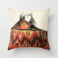 navajo Throw Pillows featuring Navajo by Karen Hofstetter