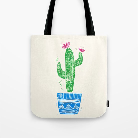 Linocut Cactus #2 in a pot Tote Bag