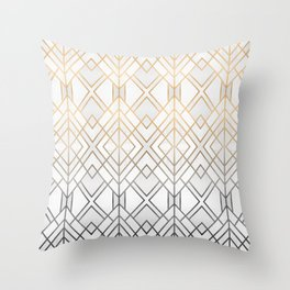 Gold And Grey Geo Throw Pillow