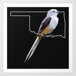 Oklahoma – Scissor-Tailed Flycatcher (Black) Art Print