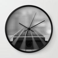 guitar Wall Clocks featuring Guitar by CABINWONDERLAND