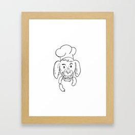 Chef Dog Biting Sausage String Cartoon Black and White Framed Art Print