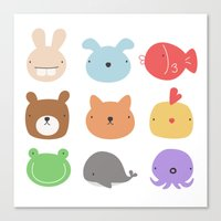 stickers Canvas Prints featuring Animal Stickers by xiuen