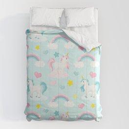 Fabulous Unicorns – Pastel Pink Polka dots and Blue Comforters