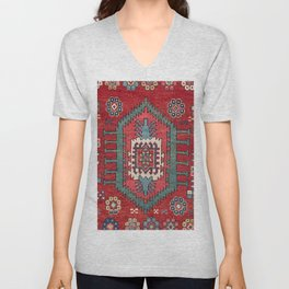 Tribal Honeycomb Palmette IV // 19th Century Authentic Colorful Red Flower Accent Pattern Unisex V-Neck