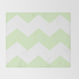 Green and white zig zag simple graphic pattern Throw Blanket