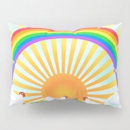 rainbow, sunshine, chickens, & phlox Pillow Sham