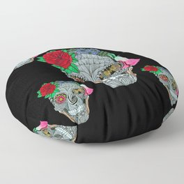 Lady Skull ready to party Floor Pillow