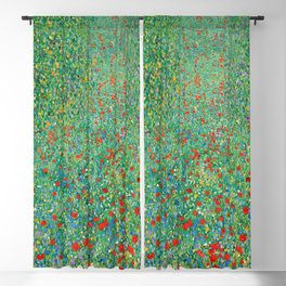 Poppy Field Gustav Klimt Blackout Curtain