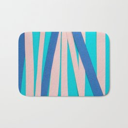 Pink & Blue Stripes on Turquois Bath Mat