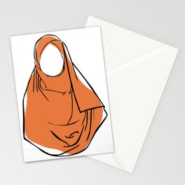 Hijab Woman 03, single line art colored set Stationery Cards