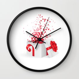 Opening gift box for Valentines day Wall Clock