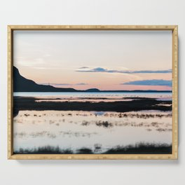 Sunset in Iceland - nature landscape Serving Tray