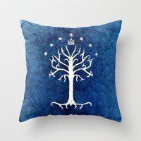 gondor Throw Pillows featuring The White Tree by Jackie Sullivan