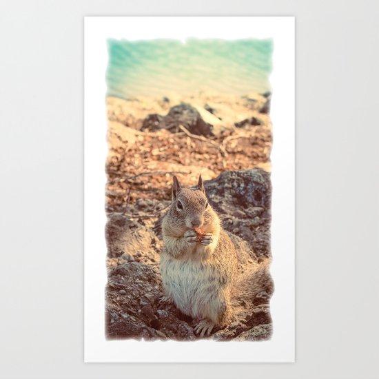 Happy Fluffy Squirrel Art Print