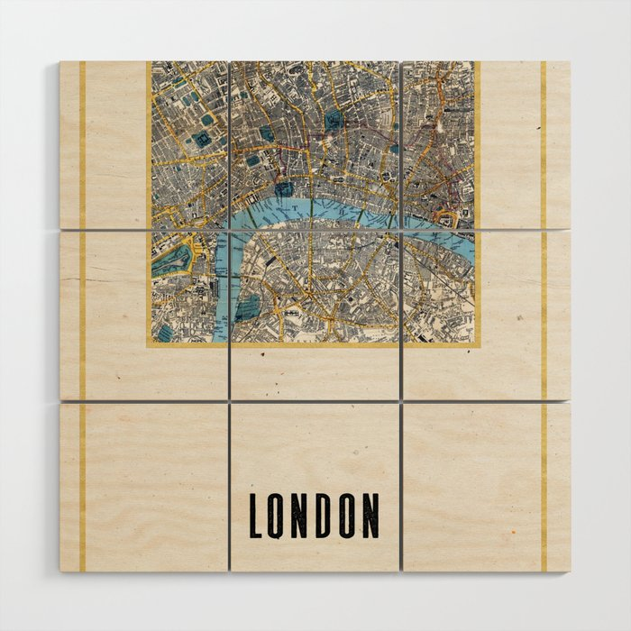 Vintage London Gold Foil Location Coordinates with map Wood Wall Art ...
