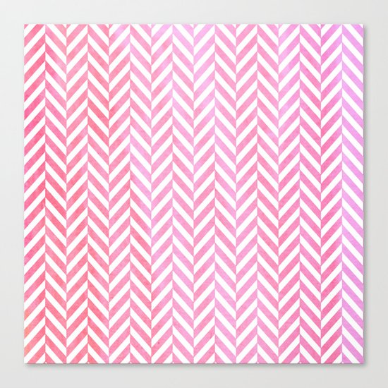 Watercolor Herringbone Chevron pattern - pink on white Canvas Print