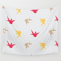 crane Wall Tapestries featuring Paper Crane by Lazy Daisy