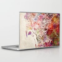 san diego Laptop & iPad Skins featuring San Diego by MapMapMaps.Watercolors