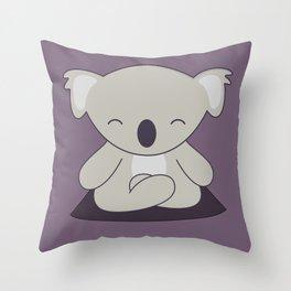 Kawaii Cute Koala Meditating Throw Pillow