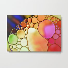 """Stained Glass Orbs"" - Oil and Water Metal Print"