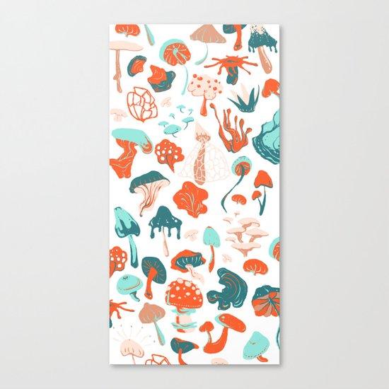 Mushroom Pattern (white) Canvas Print