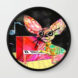 Fractimal Dog - Chihuahua playing the piano Wall Clock