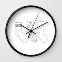 socks Wall Clocks featuring Socks.  by novacaeli