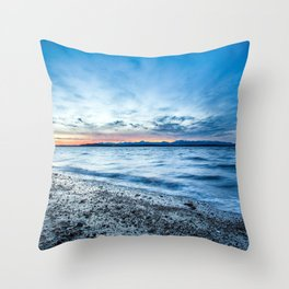 sunset landscapes nature coast waves Seattle USA pebbles HDR photography Washington sea beaches Throw Pillow