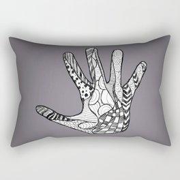 Doodle Hand (Black White) Rectangular Pillow