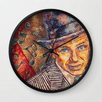 frank sinatra Wall Clocks featuring Frank Sinatra  by Sara Elyse Lehtman