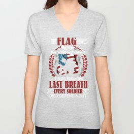 Patriotic American Flag flies from the Last Breath of Soldier Defending It Unisex V-Neck
