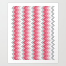 Chevron Pink & Grey Art Print