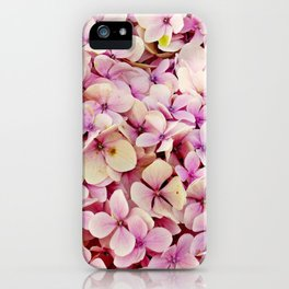Pastel pink lilac botanical hydrangea floral iPhone Case