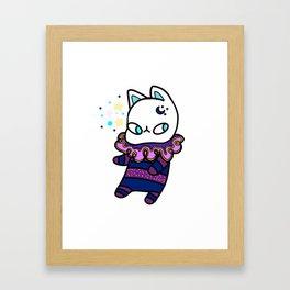 Kawaii Galaxy Cat - Cute Kitty Design Framed Art Print