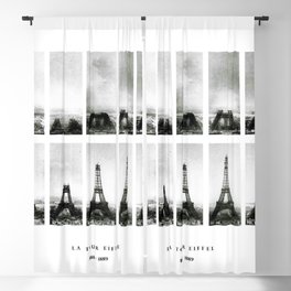1888-1889 Eiffel Tower Full Construction Sequence black and white photography Blackout Curtain