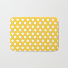White Polka Dots on Yellow Bath Mat