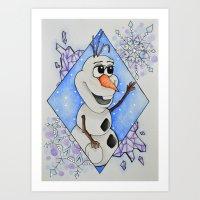 olaf Art Prints featuring Olaf by LadyGabe