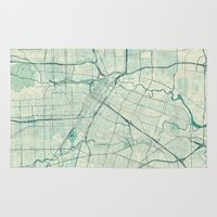 houston Area & Throw Rugs featuring Houston Map Blue Vintage by City Art Posters