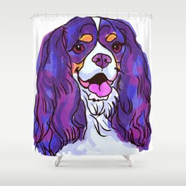 The happy tricolor Cavalier King Charles Spaniel Love of My Life! Shower Curtain