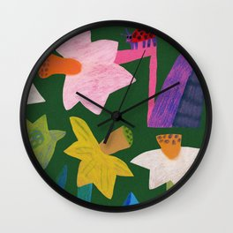 Daffodils and ladybird Wall Clock
