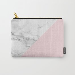 Marble + Pastel Pink Carry-All Pouch