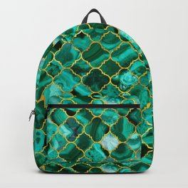 Quatrefoil Moroccan Pattern Green Malachite and gold Backpack