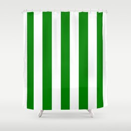 Green (HTML/CSS color) - solid color - white vertical lines pattern Shower Curtain