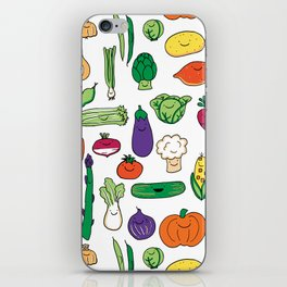 Cute Smiling Happy Veggies on white background iPhone Skin
