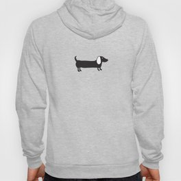 Simple black and white dachshund Hoody